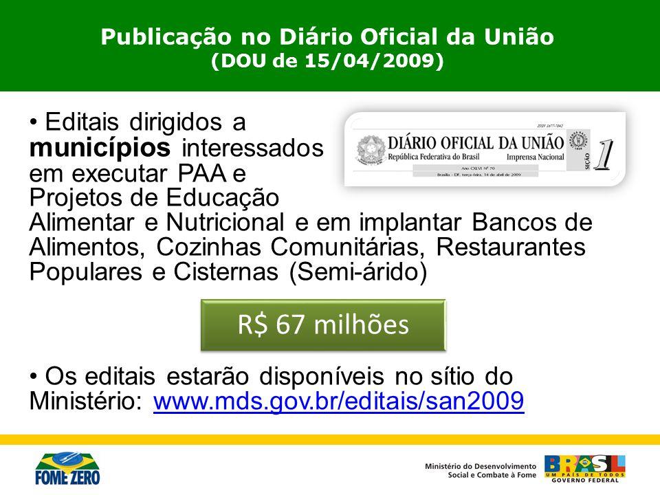 Editais dirigidos a municípios interessados em executar PAA e Projetos de Educação Alimentar e Nutricional e em implantar Bancos de Alimentos, Cozinha