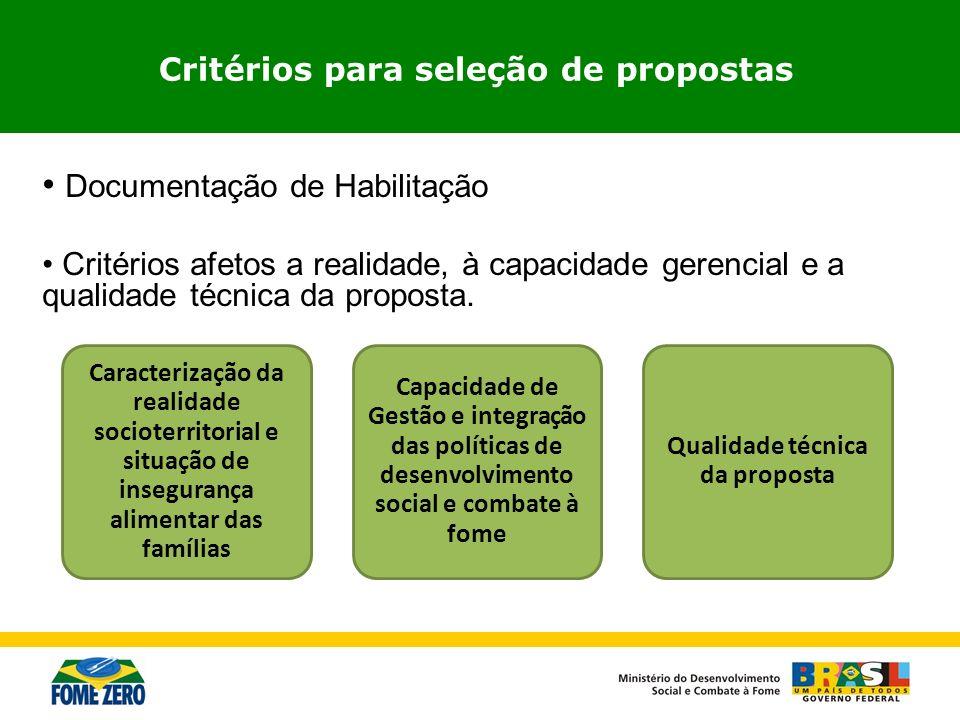 Documentação de Habilitação Critérios afetos a realidade, à capacidade gerencial e a qualidade técnica da proposta. Critérios para seleção de proposta