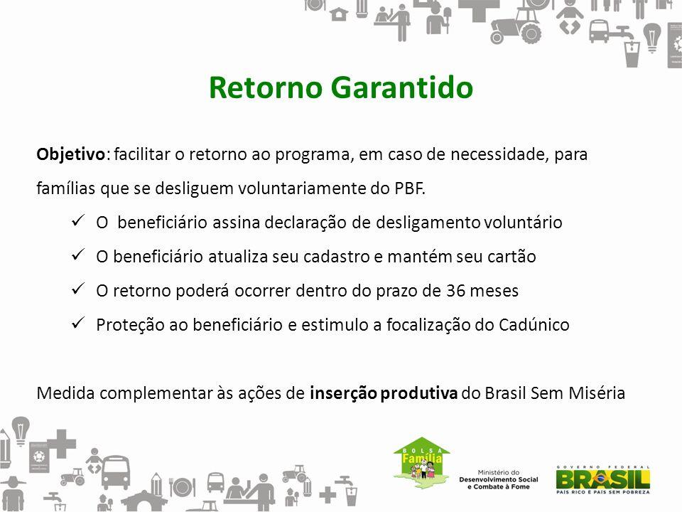 Retorno Garantido Objetivo: facilitar o retorno ao programa, em caso de necessidade, para famílias que se desliguem voluntariamente do PBF. O benefici