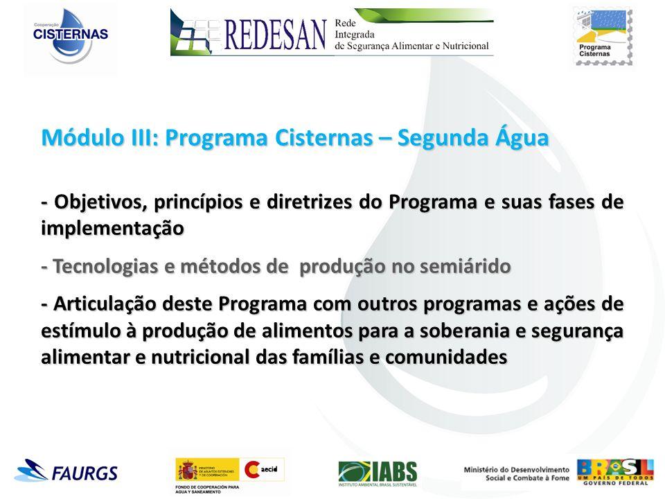 Módulo III: Programa Cisternas – Segunda Água - Objetivos, princípios e diretrizes do Programa e suas fases de implementação - Tecnologias e métodos d
