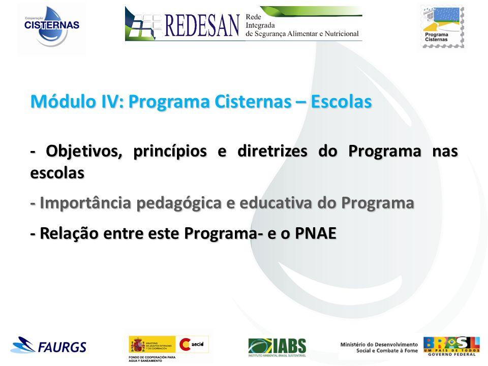 Módulo IV: Programa Cisternas – Escolas - Objetivos, princípios e diretrizes do Programa nas escolas - Importância pedagógica e educativa do Programa - Relação entre este Programa- e o PNAE