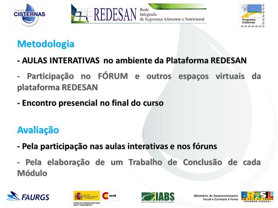 Metodologia - AULAS INTERATIVAS no ambiente da Plataforma REDESAN - Participação no FÓRUM e outros espaços virtuais da plataforma REDESAN - Encontro p