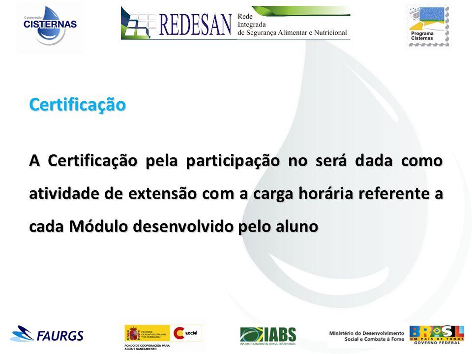 Certificação A Certificação pela participação no será dada como atividade de extensão com a carga horária referente a cada Módulo desenvolvido pelo aluno