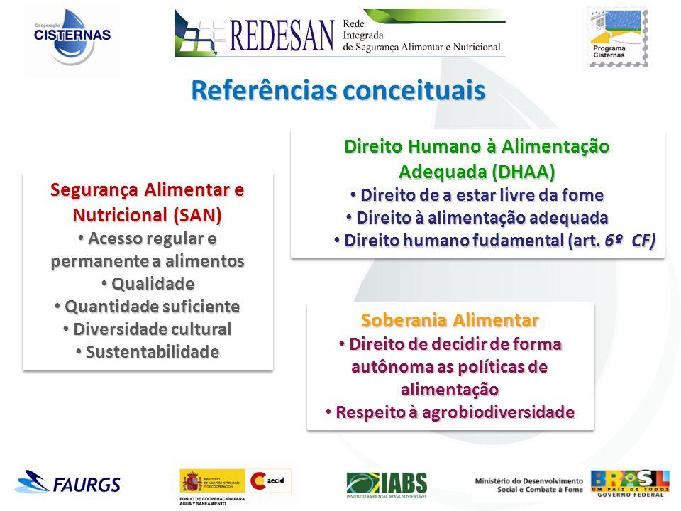 Referências conceituais Segurança Alimentar e Nutricional (SAN) Acesso regular e permanente a alimentos Acesso regular e permanente a alimentos Qualid