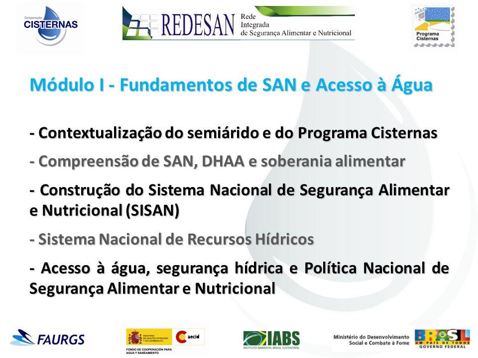 Módulo I - Fundamentos de SAN e Acesso à Água - Contextualização do semiárido e do Programa Cisternas - Compreensão de SAN, DHAA e soberania alimentar