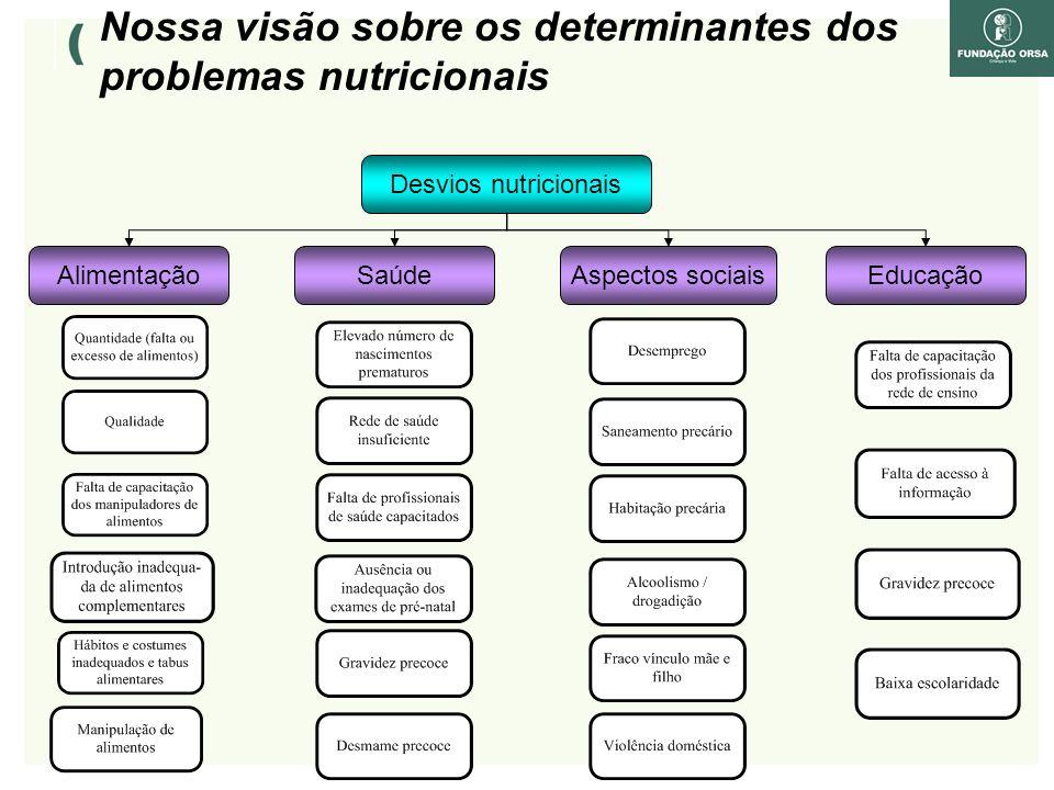 Alimentação Desvios nutricionais SaúdeAspectos sociaisEducação Nossa visão sobre os determinantes dos problemas nutricionais