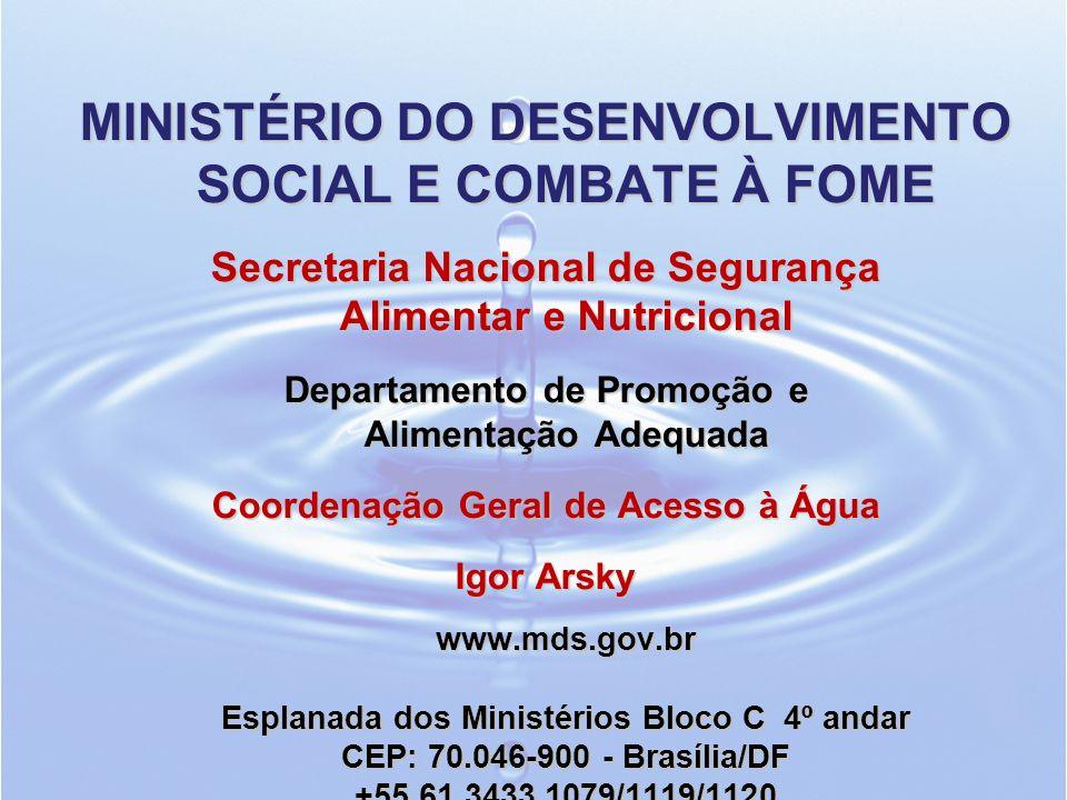 MINISTÉRIO DO DESENVOLVIMENTO SOCIAL E COMBATE À FOME Secretaria Nacional de Segurança Alimentar e Nutricional Departamento de Promoção e Alimentação