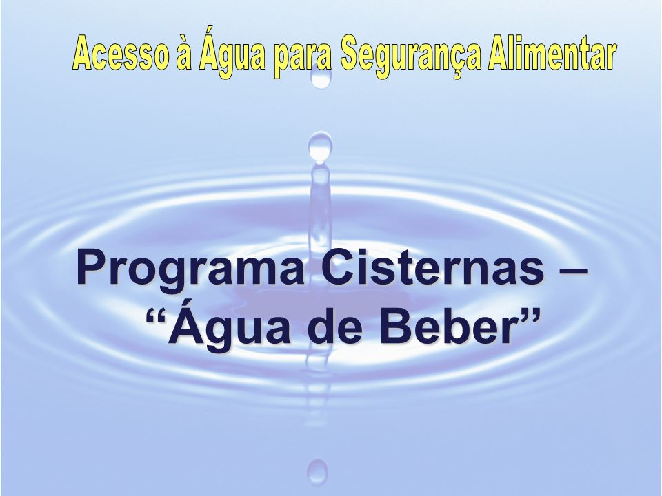 Objetivo Geral do Programa Cisternas Universalizar as condições de acesso adequado á água potável das populações rurais de baixa renda no semiárido brasileiro a partir do armazenamento de água em cisternas.