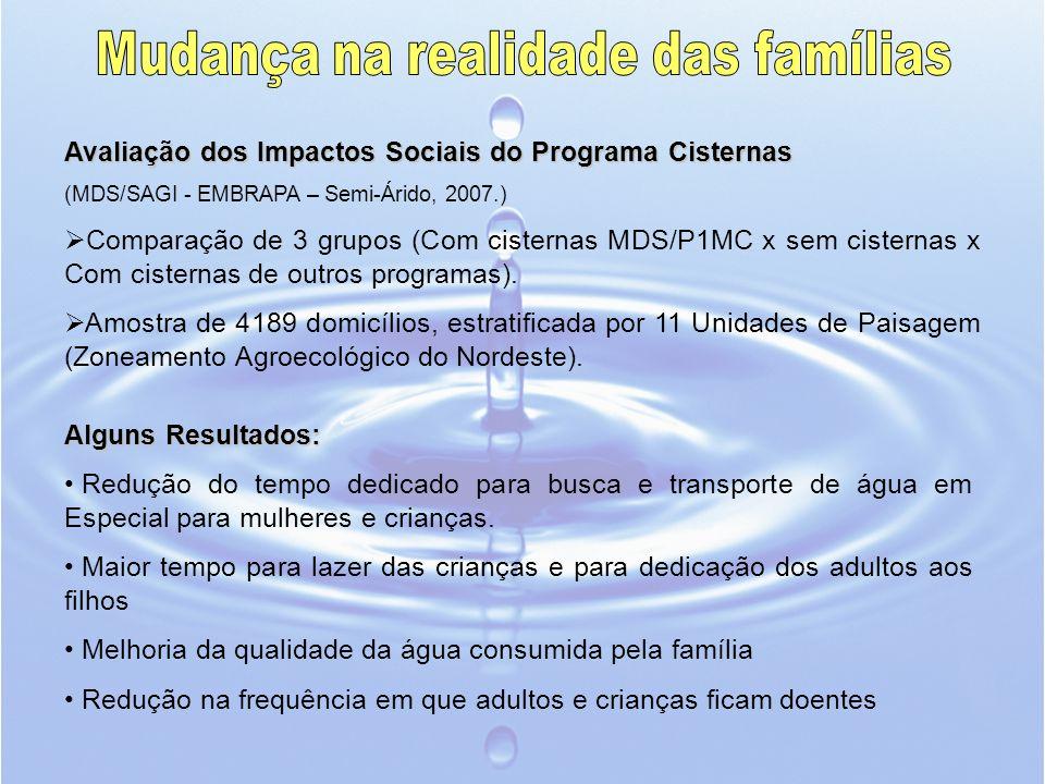 Avaliação dos Impactos Sociais do Programa Cisternas (MDS/SAGI - EMBRAPA – Semi-Árido, 2007.) Comparação de 3 grupos (Com cisternas MDS/P1MC x sem cis
