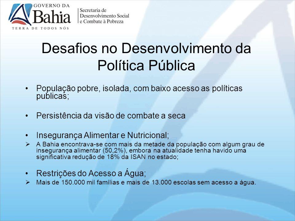 Desafios no Desenvolvimento da Política Pública População pobre, isolada, com baixo acesso as políticas publicas; Persistência da visão de combate a s