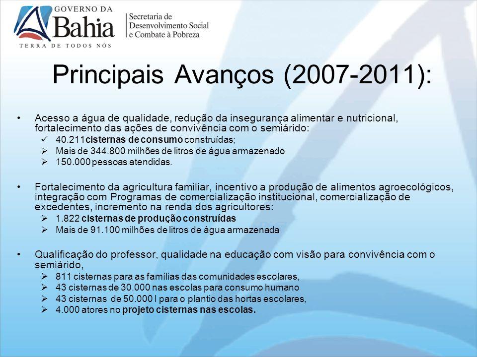 Principais Avanços (2007-2011): Acesso a água de qualidade, redução da insegurança alimentar e nutricional, fortalecimento das ações de convivência co