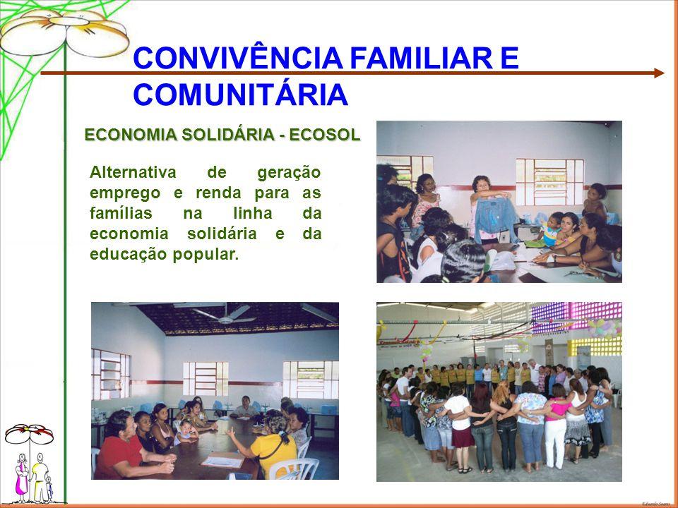 CONVIVÊNCIA FAMILIAR E COMUNITÁRIA Alternativa de geração emprego e renda para as famílias na linha da economia solidária e da educação popular.