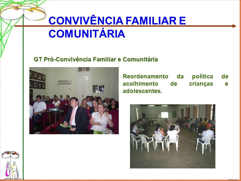 Reordenamento da política de acolhimento de crianças e adolescentes. CONVIVÊNCIA FAMILIAR E COMUNITÁRIA GT Pró-Convivência Familiar e Comunitária