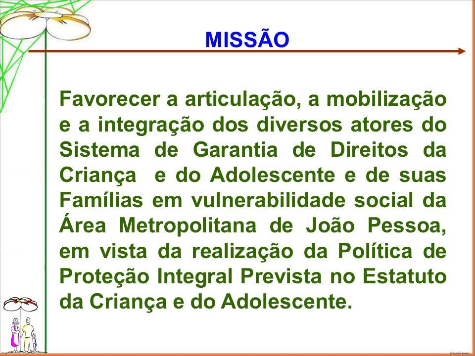 MISSÃO Favorecer a articulação, a mobilização e a integração dos diversos atores do Sistema de Garantia de Direitos da Criança e do Adolescente e de s