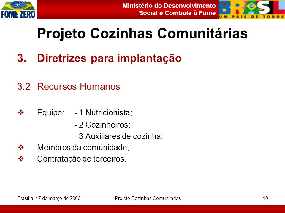 Ministério do Desenvolvimento Social e Combate à Fome Brasília, 17 de março de 2006 Projeto Cozinhas Comunitárias 10 Projeto Cozinhas Comunitárias 3.D
