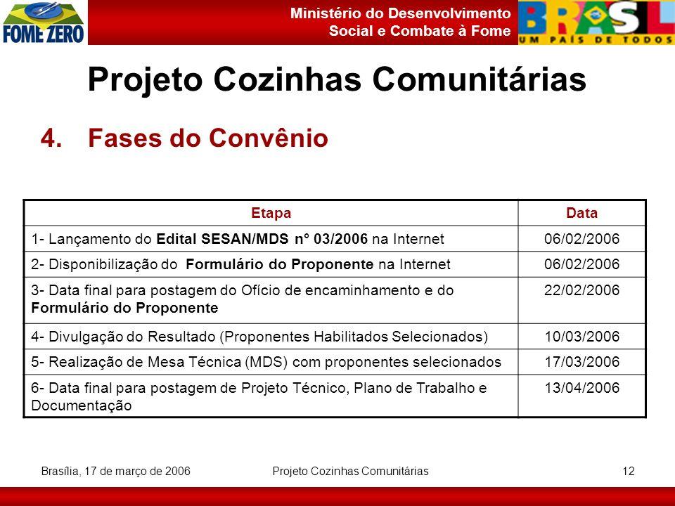 Ministério do Desenvolvimento Social e Combate à Fome Brasília, 17 de março de 2006 Projeto Cozinhas Comunitárias 12 Projeto Cozinhas Comunitárias 4.F