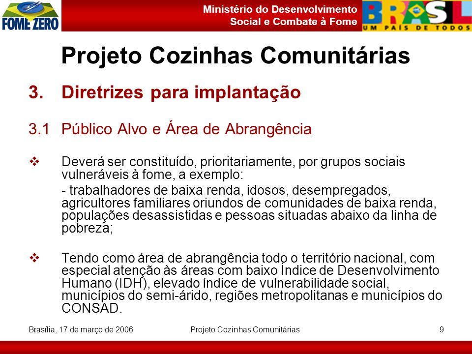 Ministério do Desenvolvimento Social e Combate à Fome Brasília, 17 de março de 2006 Projeto Cozinhas Comunitárias 10 Projeto Cozinhas Comunitárias 3.Diretrizes para implantação 3.2Recursos Humanos Equipe:- 1 Nutricionista; - 2 Cozinheiros; - 3 Auxiliares de cozinha; Membros da comunidade; Contratação de terceiros.