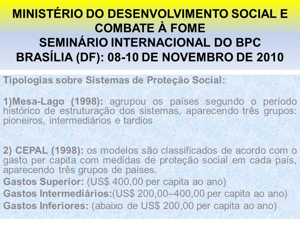 MINISTÉRIO DO DESENVOLVIMENTO SOCIAL E COMBATE À FOME SEMINÁRIO INTERNACIONAL DO BPC BRASÍLIA (DF): 08-10 DE NOVEMBRO DE 2010 Tipologias sobre Sistemas de Proteção Social: 1)Mesa-Lago (1998): agrupou os países segundo o período histórico de estruturação dos sistemas, aparecendo três grupos: pioneiros, intermediários e tardios 2) CEPAL (1998): os modelos são classificados de acordo com o gasto per capita com medidas de proteção social em cada país, aparecendo três grupos de países.