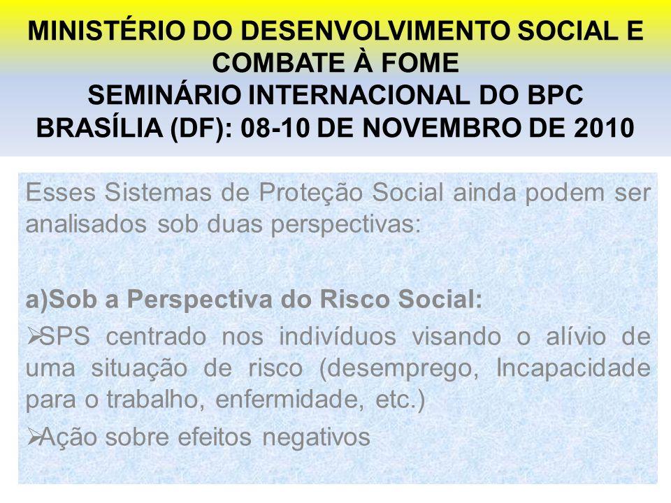 MINISTÉRIO DO DESENVOLVIMENTO SOCIAL E COMBATE À FOME SEMINÁRIO INTERNACIONAL DO BPC BRASÍLIA (DF): 08-10 DE NOVEMBRO DE 2010 Esses Sistemas de Proteção Social ainda podem ser analisados sob duas perspectivas: a)Sob a Perspectiva do Risco Social: SPS centrado nos indivíduos visando o alívio de uma situação de risco (desemprego, Incapacidade para o trabalho, enfermidade, etc.) Ação sobre efeitos negativos