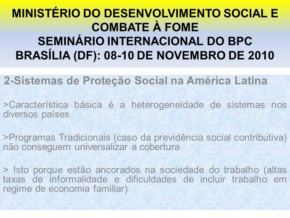 MINISTÉRIO DO DESENVOLVIMENTO SOCIAL E COMBATE À FOME SEMINÁRIO INTERNACIONAL DO BPC BRASÍLIA (DF): 08-10 DE NOVEMBRO DE 2010 2-Sistemas de Proteção Social na América Latina >Característica básica é a heterogeneidade de sistemas nos diversos países >Programas Tradicionais (caso da previdência social contributiva) não conseguem universalizar a cobertura > Isto porque estão ancorados na sociedade do trabalho (altas taxas de informalidade e dificuldades de incluir trabalho em regime de economia familiar)