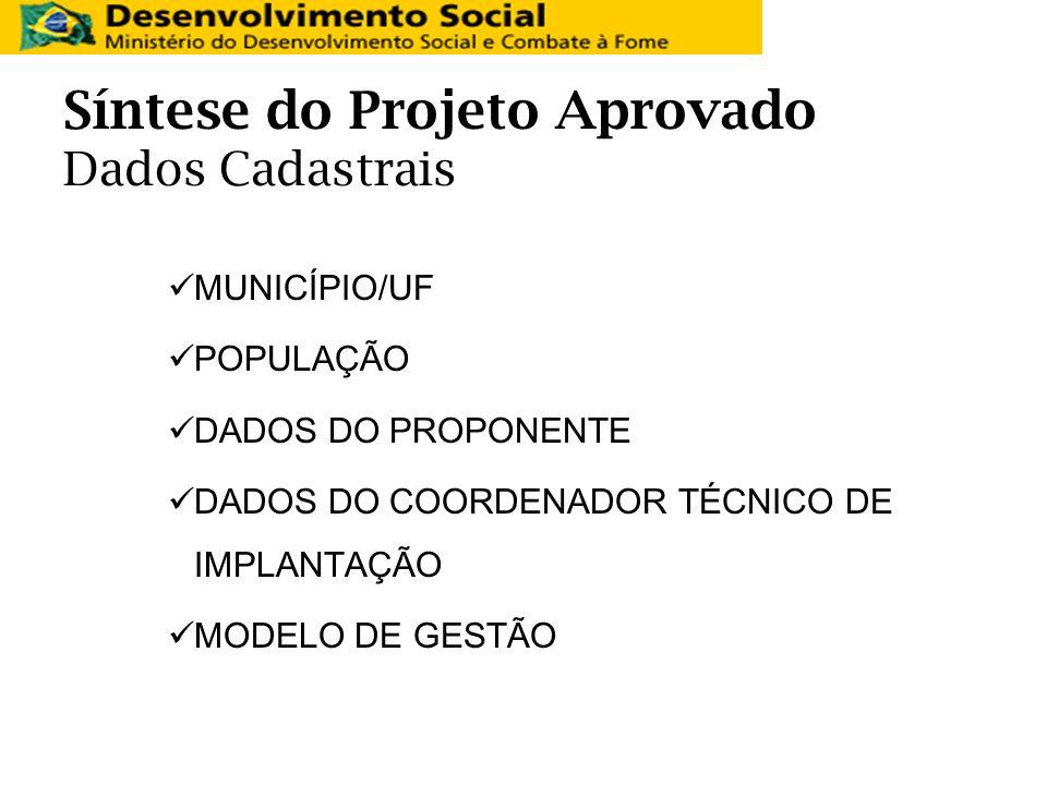 Síntese do Projeto Aprovado Dados Cadastrais MUNICÍPIO/UF POPULAÇÃO DADOS DO PROPONENTE DADOS DO COORDENADOR TÉCNICO DE IMPLANTAÇÃO MODELO DE GESTÃO