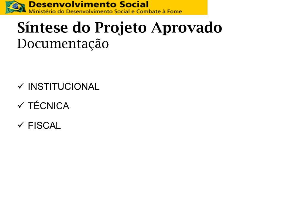 Síntese do Projeto Aprovado Documentação INSTITUCIONAL TÉCNICA FISCAL