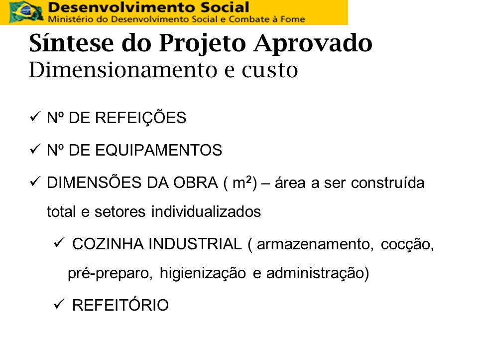 Síntese do Projeto Aprovado Dimensionamento e custo Nº DE REFEIÇÕES Nº DE EQUIPAMENTOS DIMENSÕES DA OBRA ( m 2 ) – área a ser construída total e setor