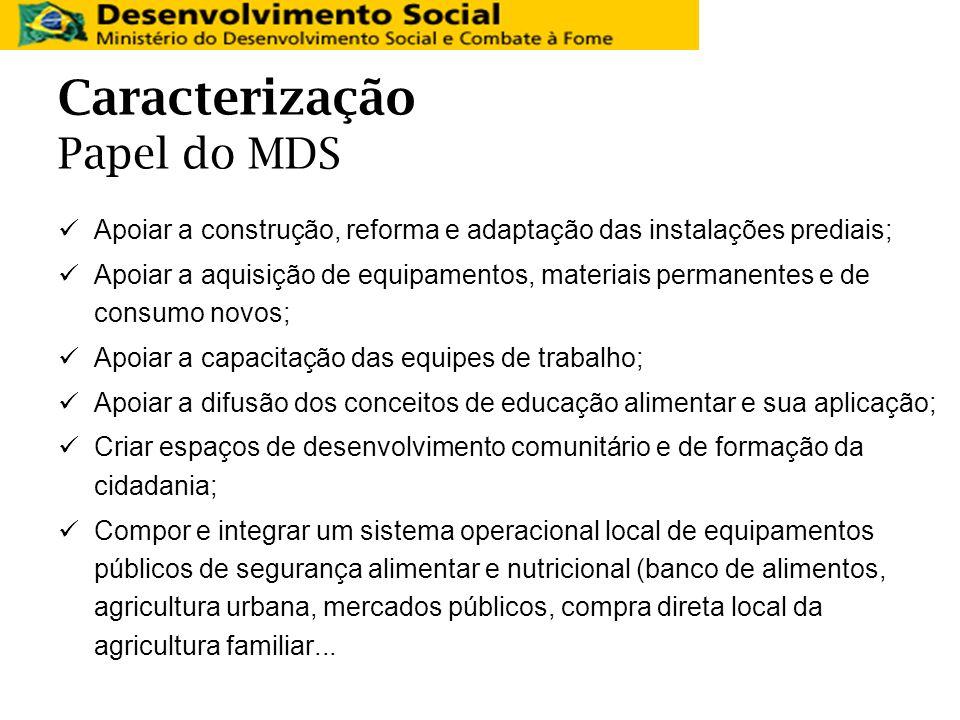 Caracterização Papel do MDS Apoiar a construção, reforma e adaptação das instalações prediais; Apoiar a aquisição de equipamentos, materiais permanent