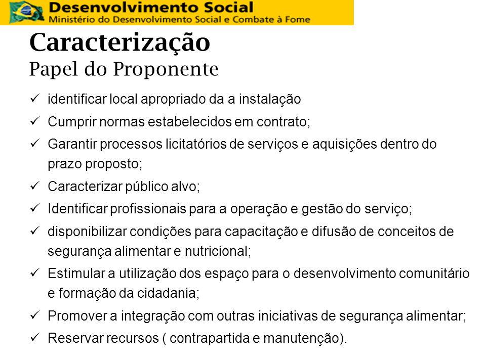 Caracterização Papel do Proponente identificar local apropriado da a instalação Cumprir normas estabelecidos em contrato; Garantir processos licitatór