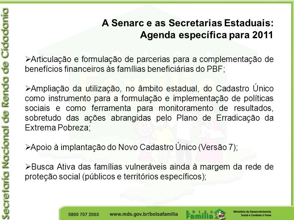 A Senarc e as Secretarias Estaduais: Agenda específica para 2011 Articulação e formulação de parcerias para a complementação de benefícios financeiros