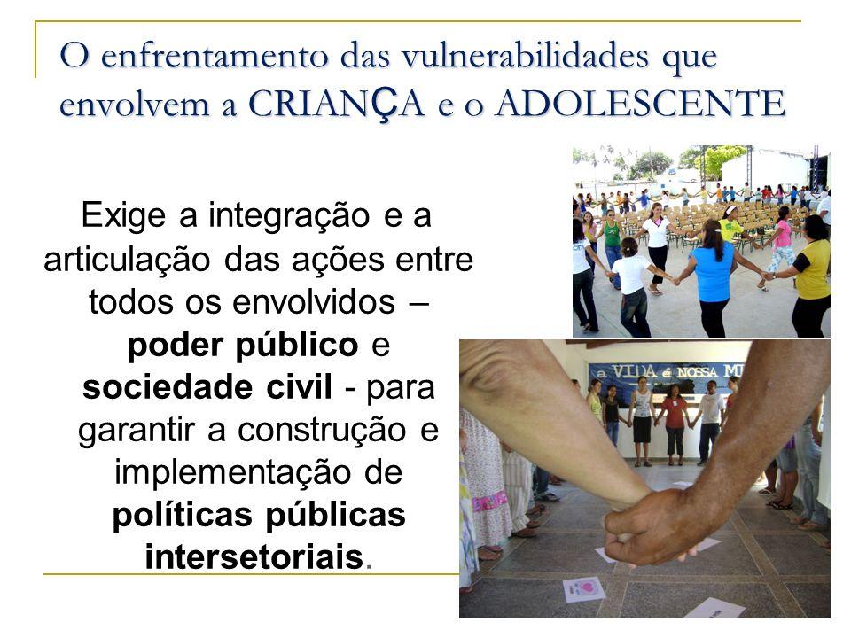 O enfrentamento das vulnerabilidades que envolvem a CRIAN Ç A e o ADOLESCENTE E xige a integração e a articulação das ações entre todos os envolvidos
