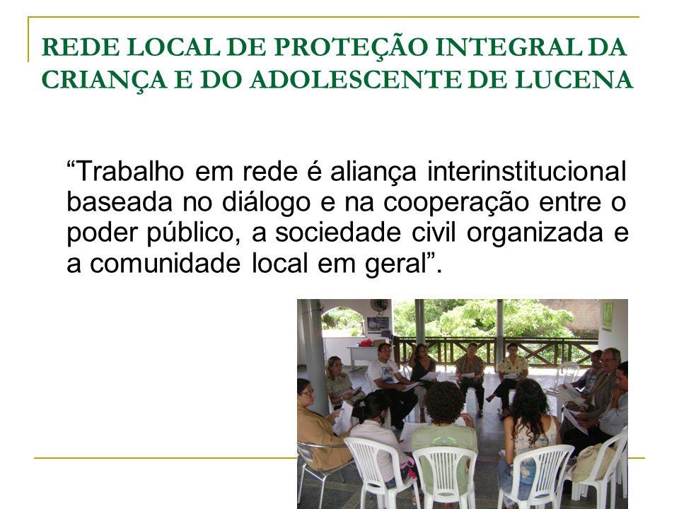 REDE LOCAL DE PROTEÇÃO INTEGRAL DA CRIANÇA E DO ADOLESCENTE DE LUCENA Trabalho em rede é aliança interinstitucional baseada no diálogo e na cooperação