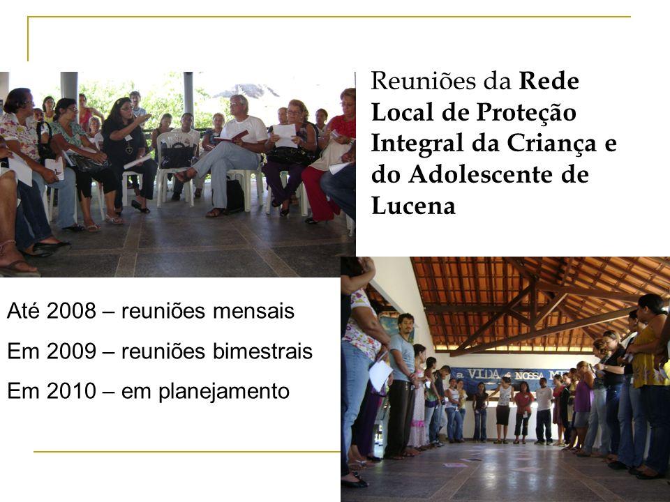 Reuniões da R ede Local de Proteção Integral da Criança e do Adolescente de Lucena Até 2008 – reuniões mensais Em 2009 – reuniões bimestrais Em 2010 –