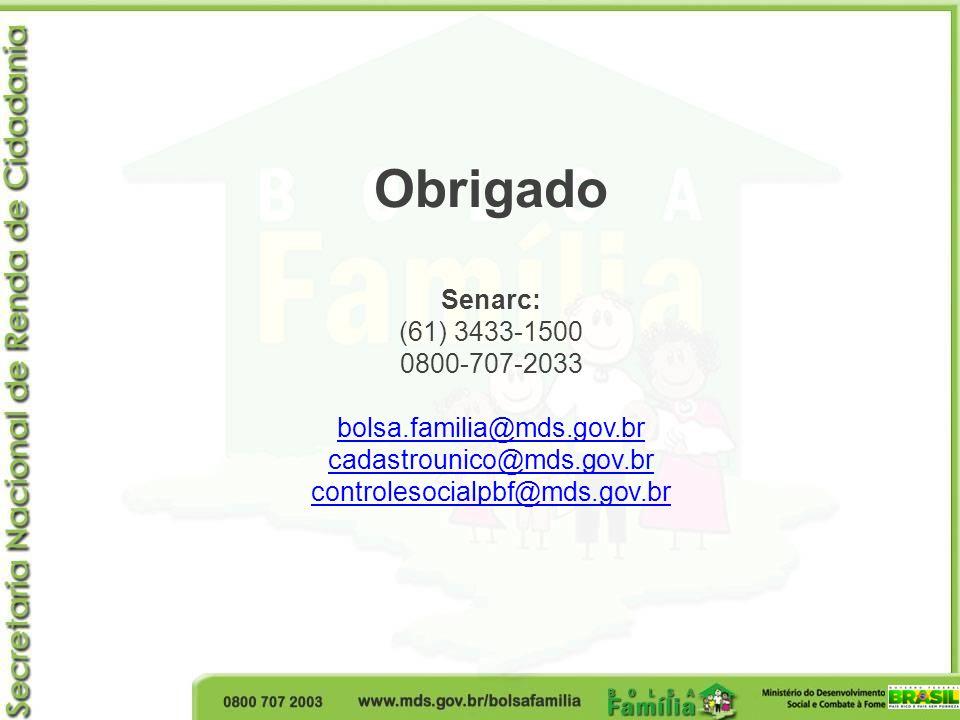Obrigado Senarc: (61) 3433-1500 0800-707-2033 bolsa.familia@mds.gov.br cadastrounico@mds.gov.br controlesocialpbf@mds.gov.br