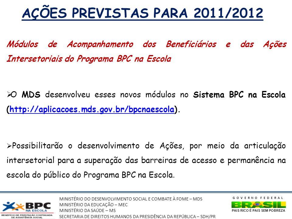 MINISTÉRIO DO DESENVOLVIMENTO SOCIAL E COMBATE À FOME – MDS MINISTÉRIO DA EDUCAÇÃO – MEC MINISTÉRIO DA SAÚDE – MS SECRETARIA DE DIREITOS HUMANOS DA PRESIDÊNCIA DA REPÚBLICA – SDH/PR GOVERNO FEDERAL PAIS RICO É PAIS SEM POBREZA AÇÕES PREVISTAS PARA 2011/2012 Módulos de Acompanhamento dos Beneficiários e das Ações Intersetoriais do Programa BPC na Escola O MDS desenvolveu esses novos módulos no Sistema BPC na Escola (http://aplicacoes.mds.gov.br/bpcnaescola).http://aplicacoes.mds.gov.br/bpcnaescola Possibilitarão o desenvolvimento de Ações, por meio da articulação intersetorial para a superação das barreiras de acesso e permanência na escola do público do Programa BPC na Escola.