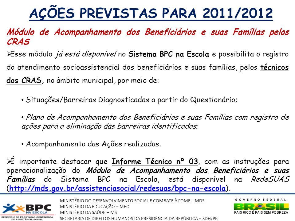 MINISTÉRIO DO DESENVOLVIMENTO SOCIAL E COMBATE À FOME – MDS MINISTÉRIO DA EDUCAÇÃO – MEC MINISTÉRIO DA SAÚDE – MS SECRETARIA DE DIREITOS HUMANOS DA PRESIDÊNCIA DA REPÚBLICA – SDH/PR GOVERNO FEDERAL PAIS RICO É PAIS SEM POBREZA AÇÕES PREVISTAS PARA 2011/2012 Módulo de Acompanhamento dos Beneficiários e suas Famílias pelos CRAS Esse módulo já está disponível no Sistema BPC na Escola e possibilita o registro do atendimento socioassistencial dos beneficiários e suas famílias, pelos técnicos dos CRAS, no âmbito municipal, por meio de: Situações/Barreiras Diagnosticadas a partir do Questionário; Plano de Acompanhamento dos Beneficiários e suas Famílias com registro de ações para a eliminação das barreiras identificadas; Acompanhamento das Ações realizadas.