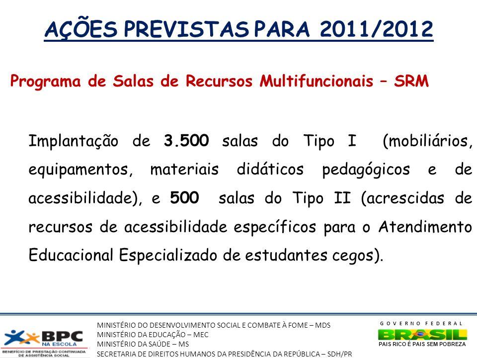MINISTÉRIO DO DESENVOLVIMENTO SOCIAL E COMBATE À FOME – MDS MINISTÉRIO DA EDUCAÇÃO – MEC MINISTÉRIO DA SAÚDE – MS SECRETARIA DE DIREITOS HUMANOS DA PRESIDÊNCIA DA REPÚBLICA – SDH/PR GOVERNO FEDERAL PAIS RICO É PAIS SEM POBREZA AÇÕES PREVISTAS PARA 2011/2012 Programa de Salas de Recursos Multifuncionais – SRM Implantação de 3.500 salas do Tipo I (mobiliários, equipamentos, materiais didáticos pedagógicos e de acessibilidade), e 500 salas do Tipo II (acrescidas de recursos de acessibilidade específicos para o Atendimento Educacional Especializado de estudantes cegos).