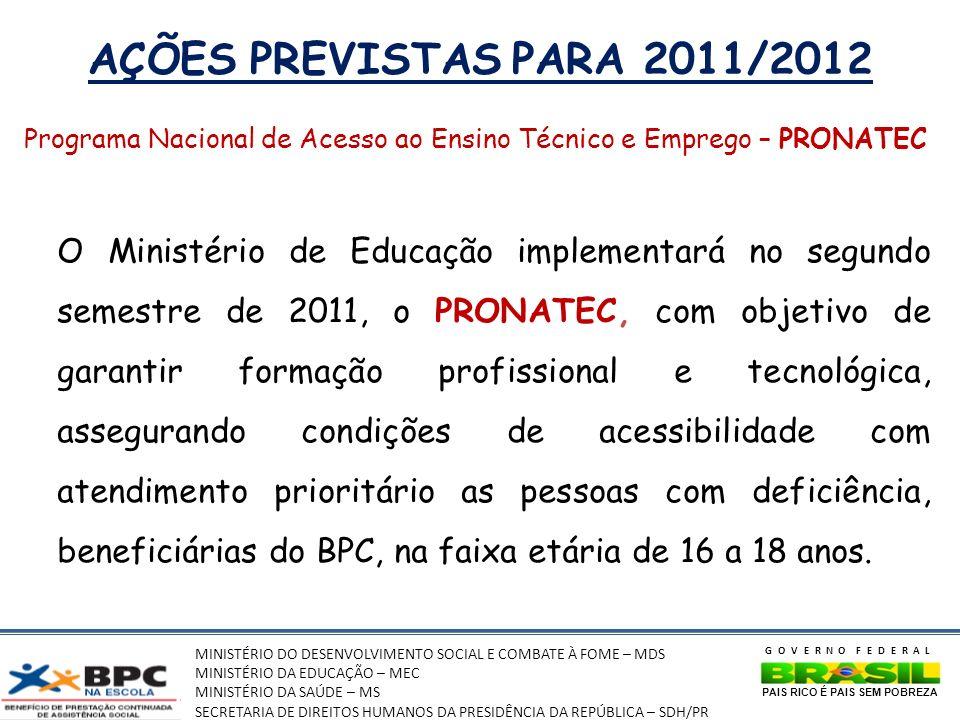 MINISTÉRIO DO DESENVOLVIMENTO SOCIAL E COMBATE À FOME – MDS MINISTÉRIO DA EDUCAÇÃO – MEC MINISTÉRIO DA SAÚDE – MS SECRETARIA DE DIREITOS HUMANOS DA PRESIDÊNCIA DA REPÚBLICA – SDH/PR GOVERNO FEDERAL PAIS RICO É PAIS SEM POBREZA AÇÕES PREVISTAS PARA 2011/2012 Programa Nacional de Acesso ao Ensino Técnico e Emprego – PRONATEC O Ministério de Educação implementará no segundo semestre de 2011, o PRONATEC, com objetivo de garantir formação profissional e tecnológica, assegurando condições de acessibilidade com atendimento prioritário as pessoas com deficiência, beneficiárias do BPC, na faixa etária de 16 a 18 anos.