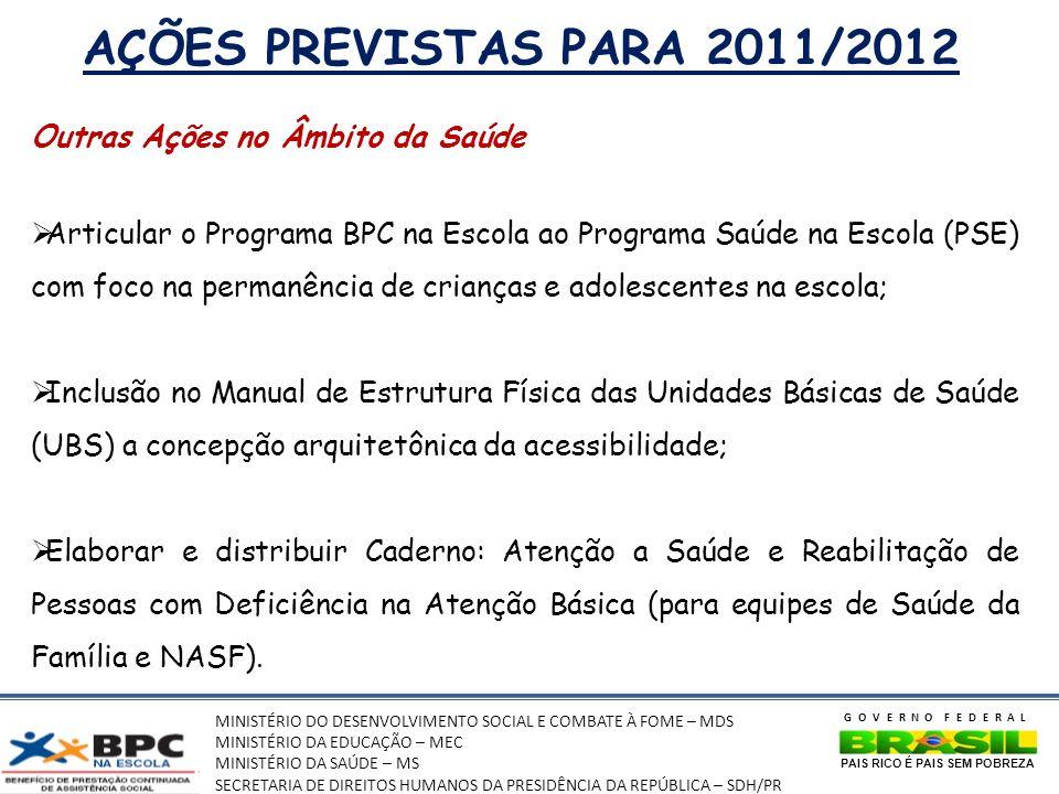 MINISTÉRIO DO DESENVOLVIMENTO SOCIAL E COMBATE À FOME – MDS MINISTÉRIO DA EDUCAÇÃO – MEC MINISTÉRIO DA SAÚDE – MS SECRETARIA DE DIREITOS HUMANOS DA PRESIDÊNCIA DA REPÚBLICA – SDH/PR GOVERNO FEDERAL PAIS RICO É PAIS SEM POBREZA AÇÕES PREVISTAS PARA 2011/2012 Outras Ações no Âmbito da Saúde Articular o Programa BPC na Escola ao Programa Saúde na Escola (PSE) com foco na permanência de crianças e adolescentes na escola; Inclusão no Manual de Estrutura Física das Unidades Básicas de Saúde (UBS) a concepção arquitetônica da acessibilidade; Elaborar e distribuir Caderno: Atenção a Saúde e Reabilitação de Pessoas com Deficiência na Atenção Básica (para equipes de Saúde da Família e NASF).