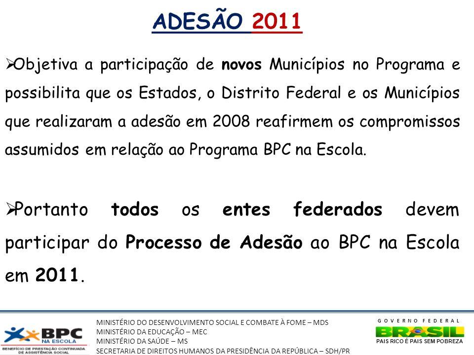 MINISTÉRIO DO DESENVOLVIMENTO SOCIAL E COMBATE À FOME – MDS MINISTÉRIO DA EDUCAÇÃO – MEC MINISTÉRIO DA SAÚDE – MS SECRETARIA DE DIREITOS HUMANOS DA PRESIDÊNCIA DA REPÚBLICA – SDH/PR GOVERNO FEDERAL PAIS RICO É PAIS SEM POBREZA ADESÃO 2011 Objetiva a participação de novos Municípios no Programa e possibilita que os Estados, o Distrito Federal e os Municípios que realizaram a adesão em 2008 reafirmem os compromissos assumidos em relação ao Programa BPC na Escola.
