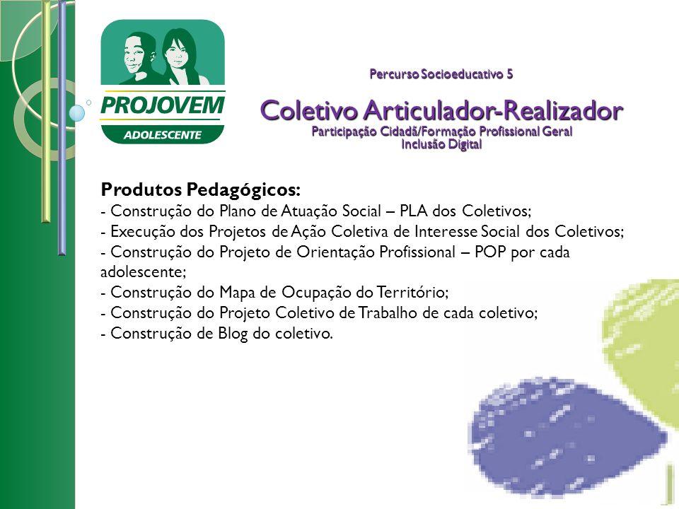 Percurso Socioeducativo 5 Coletivo Articulador-Realizador Participação Cidadã/Formação Profissional Geral Inclusão Digital Produtos Pedagógicos: - Con