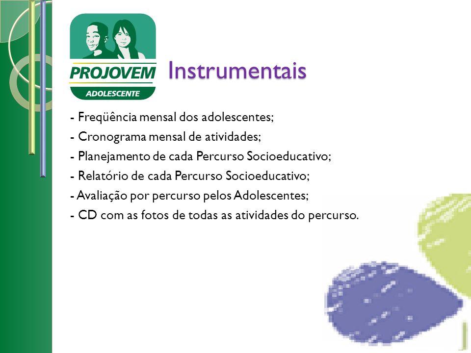 Instrumentais - Freqüência mensal dos adolescentes; - Cronograma mensal de atividades; - Planejamento de cada Percurso Socioeducativo; - Relatório de