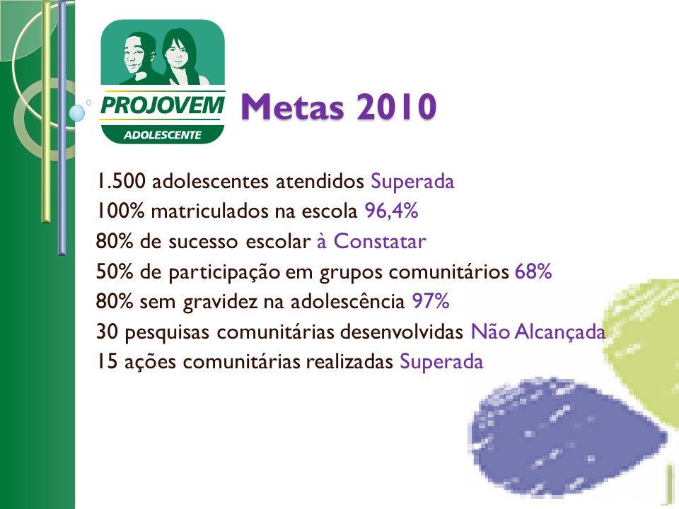 Metas 2010 1.500 adolescentes atendidos Superada 100% matriculados na escola 96,4% 80% de sucesso escolar à Constatar 50% de participação em grupos co