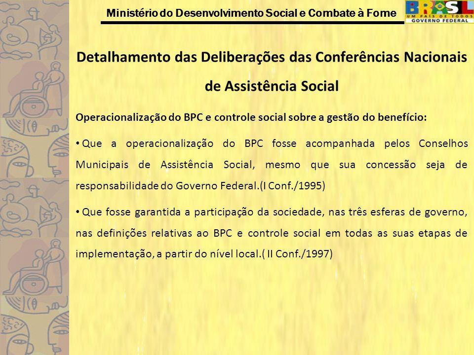 Ministério do Desenvolvimento Social e Combate à Fome Detalhamento das Deliberações das Conferências Nacionais de Assistência Social Operacionalização
