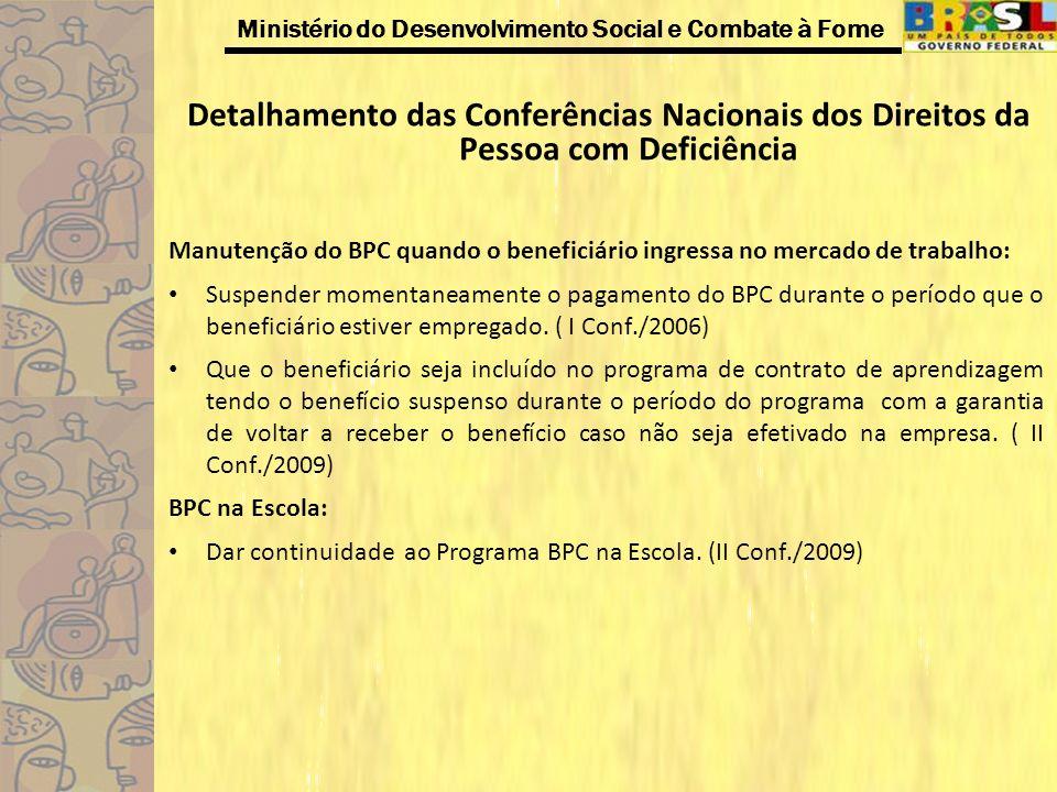 Ministério do Desenvolvimento Social e Combate à Fome Detalhamento das Conferências Nacionais dos Direitos da Pessoa com Deficiência Manutenção do BPC