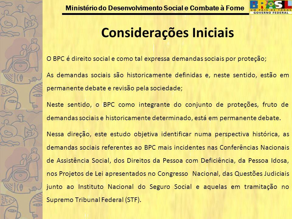 Ministério do Desenvolvimento Social e Combate à Fome Considerações Iniciais O BPC é direito social e como tal expressa demandas sociais por proteção;
