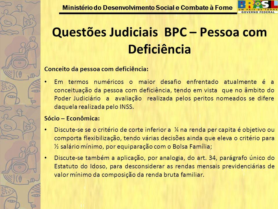 Ministério do Desenvolvimento Social e Combate à Fome Questões Judiciais BPC – Pessoa com Deficiência Conceito da pessoa com deficiência: Em termos nu