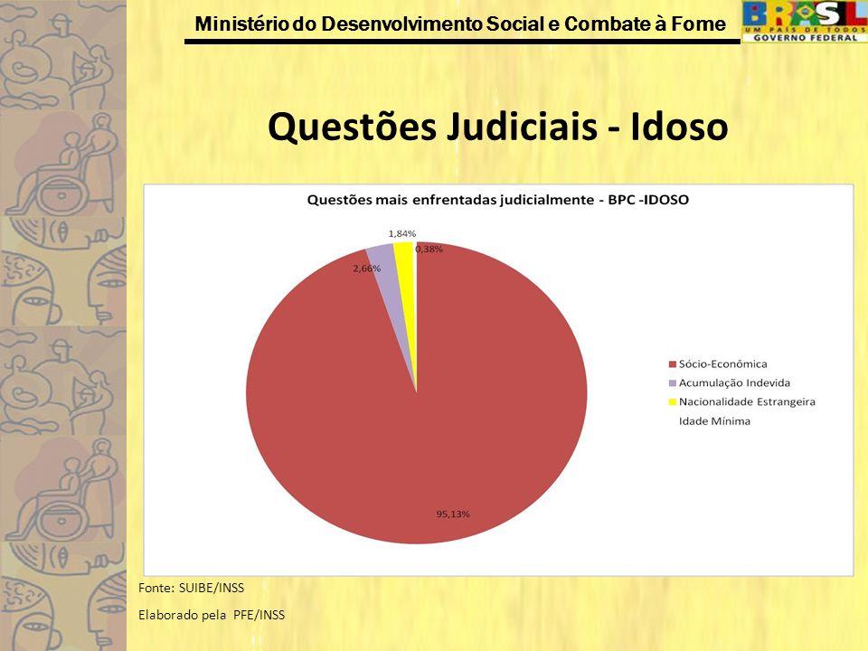 Ministério do Desenvolvimento Social e Combate à Fome Questões Judiciais - Idoso Fonte: SUIBE/INSS Elaborado pela PFE/INSS