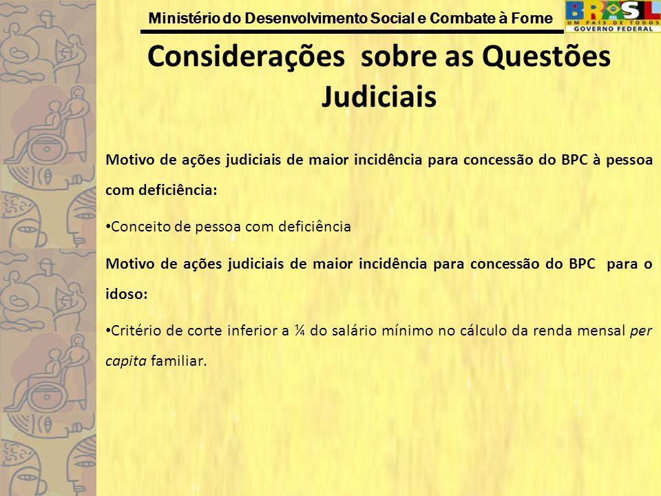 Ministério do Desenvolvimento Social e Combate à Fome Considerações sobre as Questões Judiciais Motivo de ações judiciais de maior incidência para con