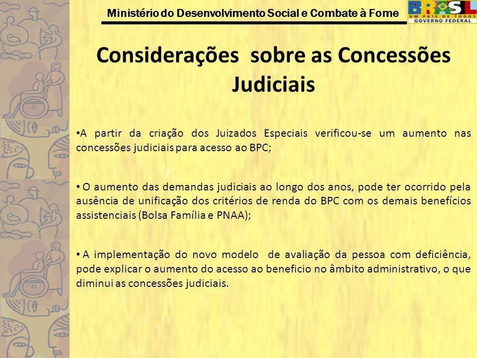 Ministério do Desenvolvimento Social e Combate à Fome Considerações sobre as Concessões Judiciais A partir da criação dos Juizados Especiais verificou